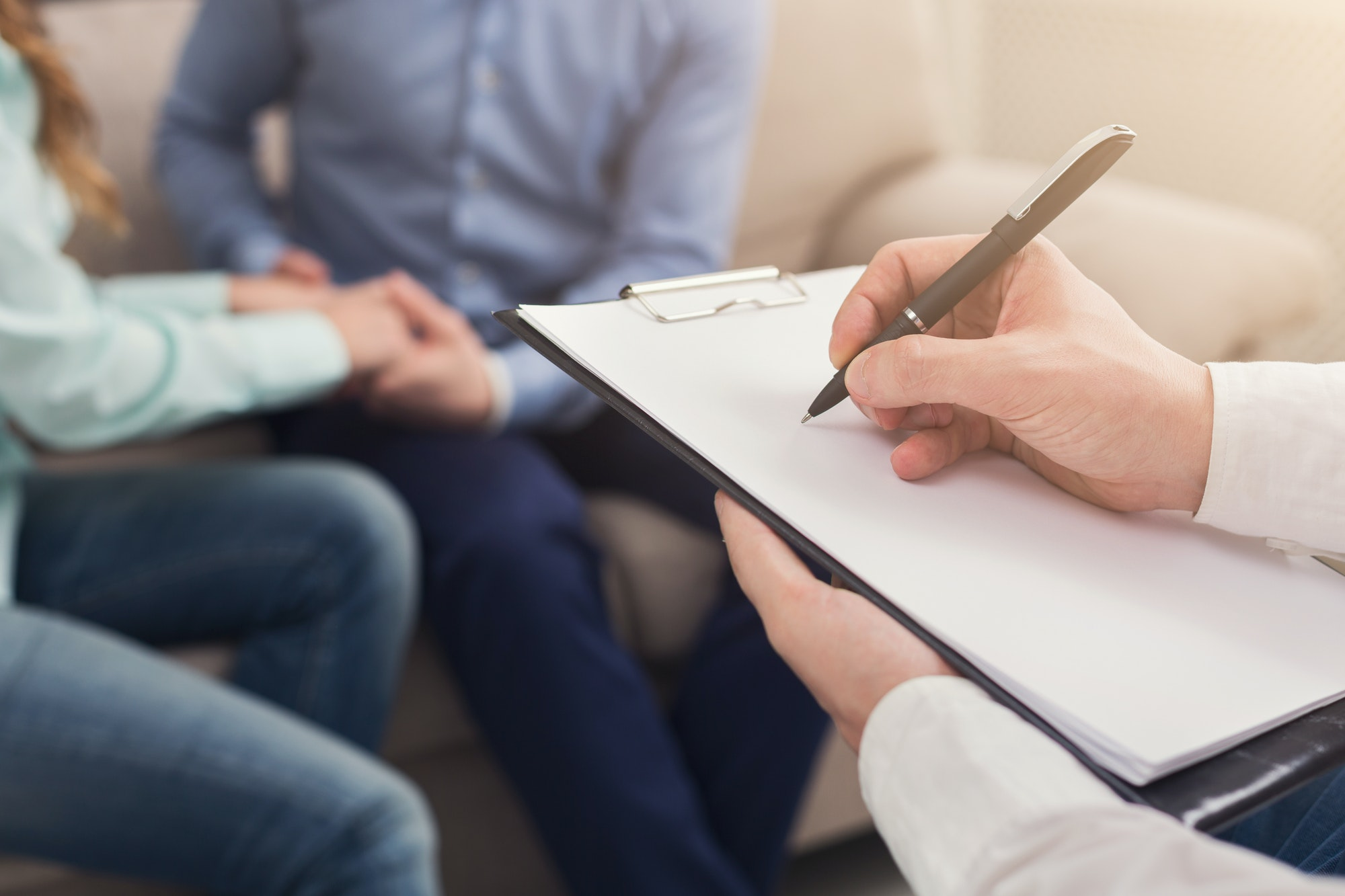 Unrecognizable couple at therapy session
